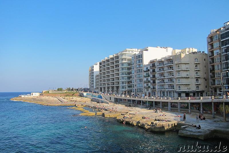 Sliema Malta  city pictures gallery : Die steinernen Strände von Sliema Sliema, Malta, Südeuropa
