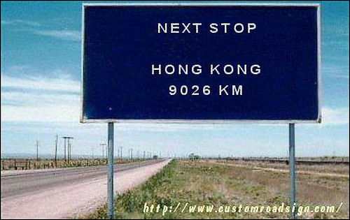 Next Stop: Hong Kong, 9026 km