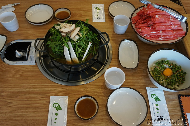 Shabu Shabu in einem Restaurant in Bupyeong, Incheon, Korea
