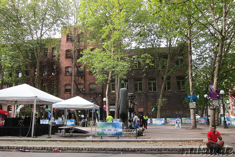 Veranstaltung am Occidental Square in Seattle, U.S.A.