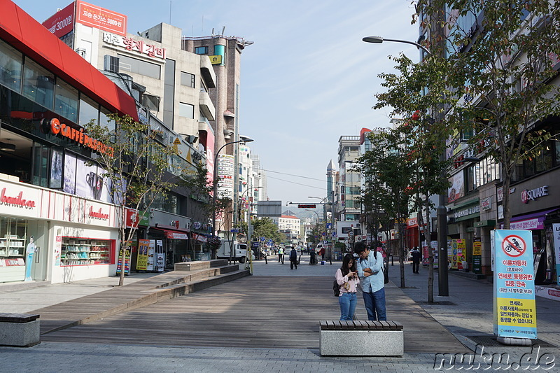 Das Studentenviertel Sinchon in Seoul, Korea